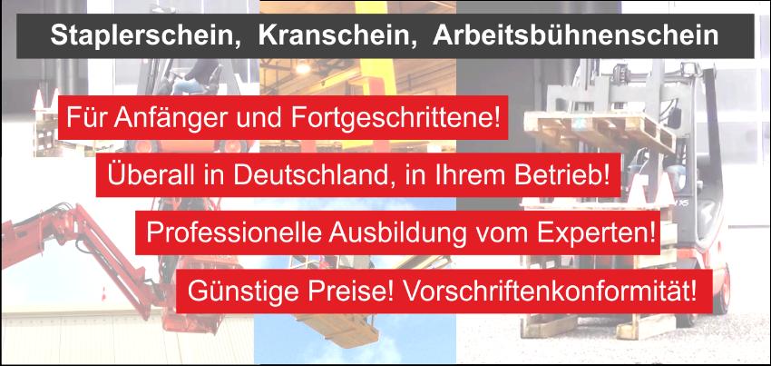 Gut gemocht Staplerschein, Kranschein, Hubarbeitsbühnenschein in ganz Deutschland VW85